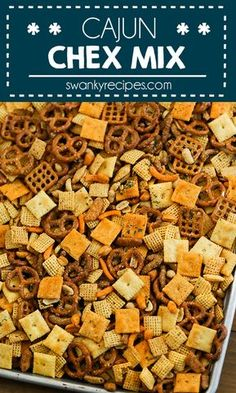 Cajun Chex Mix - For a taste of Cajun Country in Louisiana try this spicy Cajun . Cajun Chex Mix – For a taste of Cajun Country in Louisiana try this spicy Cajun seasoning snack m Trail Mix Recipes, Snack Mix Recipes, Spicy Recipes, Snack Mixes, Chex Mix Recipe Spicy, Dip Recipes, Spicy Party Mix Recipe, Sweets, Amigurumi