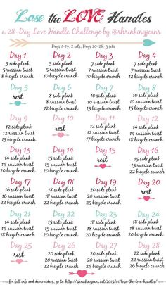 Lose the Love Handles: A FREE 28-Day Love Handle Shrinking Challenge #workoutcalendar #fitnesschallenge: | Healthy | Pinterest | Love Handles, Workout Fitness …
