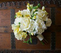 Cream Ivory and Yellow Artificial Gardenia, Rose, and Freesia Bouquet (Ivory Bouquet, Yellow Bouquet, Garden Wedding)