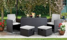 Groupon Goods Global GmbH: Torino Rattan Cube Set with an Optional Cover