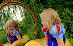 Snow White. Little princess. Mirror photography. Princess photo shoot