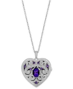 Amethyst (1 ct. t.w.) and Diamond (1/10 ct. t.w.) Heart Locket Necklace in Sterling Silver