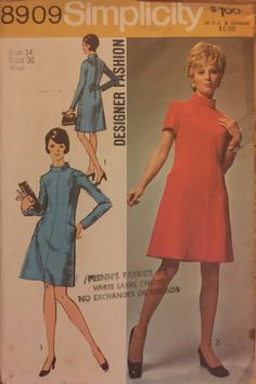 "VTG 8909 Simplicity (1970) Designer Fashion. Misses' Dress. Size 14, Bust 36"". Complete, unused, neatly cut.  Excellent condition. by ThePatternParlor on Etsy"