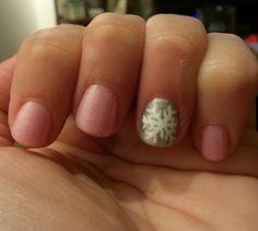 Winter nails pink silver snowflake