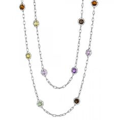 Tacori Color Medley Sterling Silver Mixed Gemstone Station Necklace... ($650) ❤ liked on Polyvore featuring jewelry, necklaces, sterling silver rose necklace, tacori necklace, sterling silver necklace, sterling silver jewelry and tri color necklace