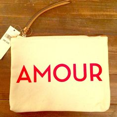 """NWT Banana Republic Amour Pouch Perfect Valentine gift or accessory! NWT cream and red. 8 1/2"""" x 6 1/2"""" in size  🙅🙅 No Trading Banana Republic Bags Clutches & Wristlets"""