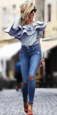 One shoulder flounce trim striped blouse pretty outfits, fall outfits, casual outfits, cute Mode Outfits, Fall Outfits, Summer Outfits, Casual Outfits, Fashion Outfits, Womens Fashion, Jean Outfits, Striped Outfits, Heels Outfits