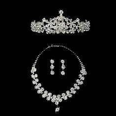 Fantastic Silvery White Alloy Rhinestone Silver Plating Womens Jewelry Set Including Tiara,Earrings,Necklace – USD $ 29.22