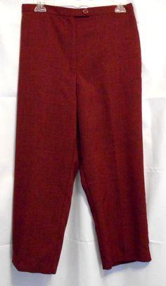 Fashion Burgundy tweed Pants 12P lightweight Elastic Back 2 button zip front #Unbranded #DressPants