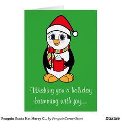Penguin Santa Hat Merry Christmas Happy New Year Card