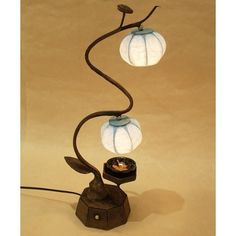 Mulberry Rice Paper Ball Handmade Heat Haze Design Art Shade Round Globe Lantern Blue Asian Oriental Decorative Bedside Accent Chic Modern Bedroom Brown Table Lamp by Antique Alive. $89.95. This table lamp consists of two lights covered with hanji shades in the design of hear haze. Each lamp is connected to a power source with a flexible cord that can be bent according to the user's need and desire. The frame and base of the lamp is also made of hanji and is dyed with a n...