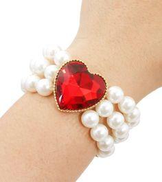 Red Heart Pearl Bracelet