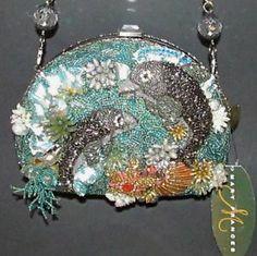 mary frances fish handbags   Mary Frances DANCING DOLPHINS Porpoise Ocean Sea Silk Beaded Purse ...