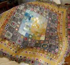 Skies Decadents * I can't just put this quilt/blanket/afghan in the Crochet Afghan board it is more than just an afghan it's purely a Work of Art. a Painting Plaid Au Crochet, Art Au Crochet, Beau Crochet, Crochet Motifs, Crochet Quilt, Crochet Squares, Crochet Afghans, Crochet Home, Love Crochet