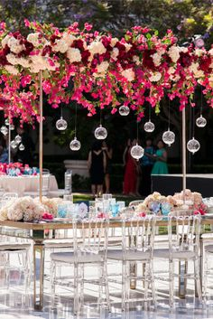 Hanging Floral | Another shot of this gorgeous event at Monarch Beach | Tableware by Casa de Perrin