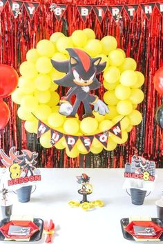 Check out this fantastic Shadow the Hedgehog birthday party! The party decorations are awesome!  See more party ideas and share yours at CatchMyParty.com  #catchmyparty #partyideas #shadowthehedgehog #shadowthehedgehogparty #boybirthdayparty