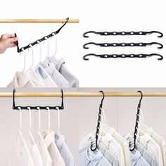 HOUSE DAY Black Magic Hangers Space Saving Clothes Hangers Organizer Smart Closet Space Saver Pack of 10 [gallery] Make sure this fits by entering your model number. Closet Space Savers, Smart Closet, Tiny Closet, Best Closet Organization, Organization Ideas, Organization Station, Bedroom Organization, Storage Ideas, Dorm Room Storage