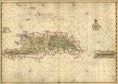 Islas La Española y Puerto Rico, 1639. Joan Vinckeboons (1617-1670) fue un cartógrafo y grabador holandés