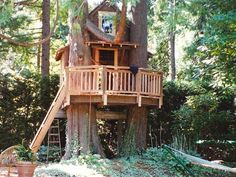 Cabin Treehouse:  I love this porch.  We could have hanging plants from the porch...Just like the girls' own little house. :)