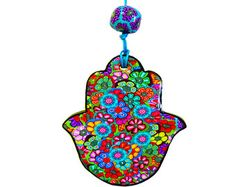 Home decor Hamsa, Hamsa wall hanging, Hamsa wall decor, Hamsa hand, Judaica, evil eye Hamsa, Hamsa decoration, Hamsa wall art, Jewish gifts  Welcome to my Etsy shop Israel online shop https://www.etsy.com/shop/MIRAKRIS  This colorful handmade Hamsa is made of polymer clay The base is millfiori flower cane The Hamsa measures: Width approx.: 9 cm (3.54) Length approx.:11 cm (4.33)  The Hamsa has been glazed with several layers of varnish for extra shine and protection  I acc...