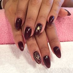 Halloween Nails by Trine @ California Nails & Beauty Lounge Stavanger Norway #halloween #halloweennails #nails #negler #norge #norway #stavanger #naglar #spider #red #gold #californianails