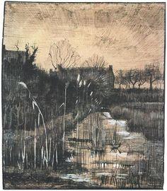 Landscape by Vincent van Gogh. Place of Creation: Nunen / Nuenen, Netherlands, Vincent Van Gogh, Van Gogh Drawings, Van Gogh Paintings, Van Gogh Museum, Art Van, Monet, Van Gogh Zeichnungen, Desenhos Van Gogh, Van Gogh Arte