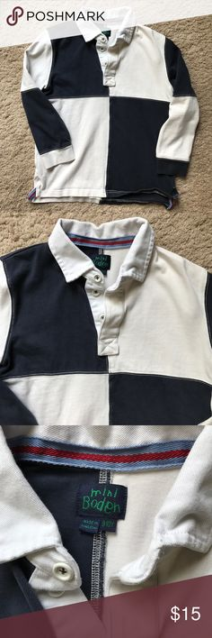 Mini Biden boys heavy cotton rugby, size 9-10 Handsome cotton rugby, in excellent condition!  Sad my son outgrew this one! Mini Boden Shirts & Tops