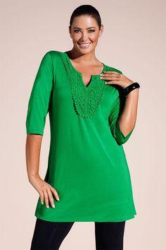 Women's Tops - Sara Lace Trim Tunic - EziBuy Australia