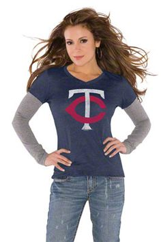 Minnesota Twins Navy Women's Primary Logo Tri Blend Long Sleeve Layered T-Shirt- Touch by Alyssa Milano