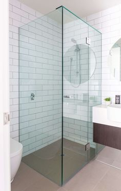 Bathroom Cool Shower Tiles Ideas With White Plaid Tiles Wall And Frameless Glass Shower Screen