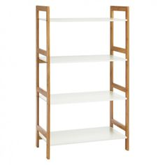 The Drew bamboo and white lacquer wide bookcase uses the warm, naturally sustainable bamboo material in a minimalist design that works in a variety of homes. Buy now at Habitat UK. 4 Shelf Bookcase, Storage Shelves, Bookcase White, Shelving Units, Bookcases, Ladder Shelves, Storage Cubes, Kitchen Storage, White Shelves