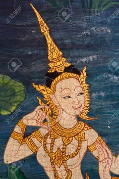Ancient Thai Painting On Wall In Thailand Buddha Temple Stock ...