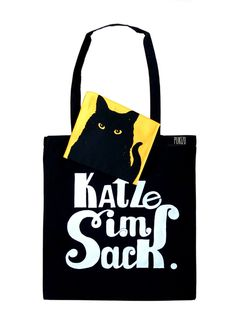 "Jutebeutel mit Innentäschchen Katze / funny tote bag with small bag inside, ""having a cat in the bag"" by PUKIZO via DaWanda.com"