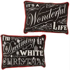 Set of 2 Chalkboard Look 15inch Polyester Christmas Throw Pillows Dreaming and Wonderful Life >>> You can get more details by clicking on the image.