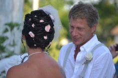 Wedding hair updo with flowers. Rustic wedding, barn wedding, vintage wedding, country wedding