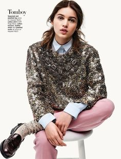 You've got to love this look. A bit of sparkle, some colored pants, and of course, some menswear flare with a collared shirt paired with this sweater. Perfect outfit for transitioning to fall!