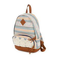 Pastel Aztec Print Backpack with Crochet Trim
