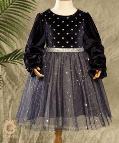 Ronny Dress -Navy Little Silver Hearts Velvet - 3-4T / Navy