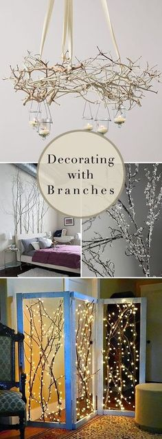 Decorating with Branches Lots of Branch Decor Ideas DIY Projects & Tutorials! Love the room divider and the chandelier! Treatment Projects Care Design home decor Diy Home Decor, Room Decor, Creation Deco, Tree Branches, Branches With Lights, Tree Branch Crafts, Tree Branch Decor, Branch Art, Home Projects