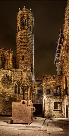 Gothic bell tower of Saint Agatha's chapel in Barcelona. Photo by Weston Westmoreland