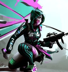 Alternative Girl, Urban Style, Future, Cyberpunk, Futuristic, Girl with Gun, Colorful, Neon