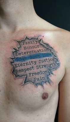 Thin blue line tattoo. Ripped skin.  #ink #words #thinblueline #rippedskin by #dutchtattooshop