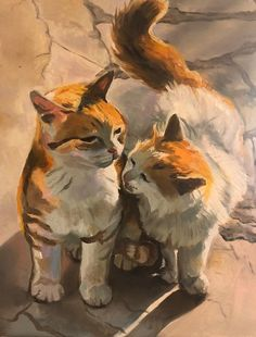 Cats in love 11x14 Oil Painting