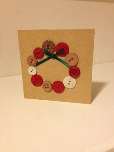 Handmade Christmas Cards - Button Wreath