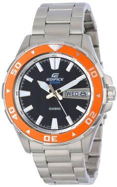 Casio Men's EFM100D-1A4V Edifice Stainless Steel Bracelet and Orange Accent Bezel Analog Watch, http://www.amazon.com/dp/B00AELHD3C/ref=cm_sw_r_pi_awdm_.TKvub0BY2NKD