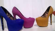 From Betsey Johnson - Mega Platform Textured Pumps in Bold Hues