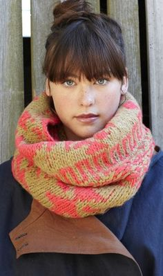 Wool Snood, cosy hand knitted snood. Made from soft butterscotch and neon pink coloured wool. Design by Jago