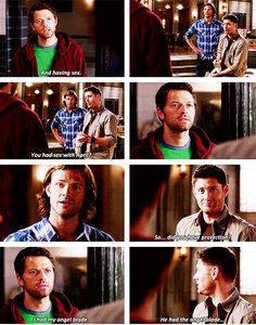 "[gifset] 9x03 I'm No Angel ""So did you have protection?"" ""I had my angel blade."""