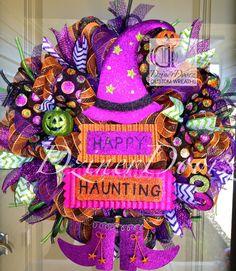 Happy Haunting Witch Halloween deco mesh Wreath by DzinerDoorz Casa Halloween, Holidays Halloween, Halloween Crafts, Halloween Decorations, Outdoor Halloween, Halloween Stuff, Halloween Ideas, Happy Halloween, Halloween Mesh Wreaths