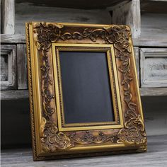 Gorgeous Framed Chalkboard Gold Ornate Framed Chalkboard Distressed... ($40) ❤ liked on Polyvore featuring home, home decor, chalkboards, dark olive, home & living, office, distressed home decor, gold home accessories and gold home decor